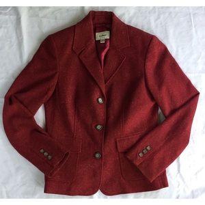 L.L. Bean Red Wool Silk Perfect for Fall Blazer S